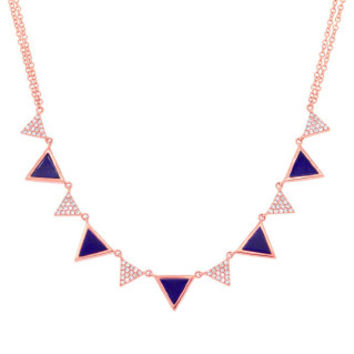0.26ct Diamond & 1.21ct Lapis 14k Rose Gold Triangle Necklace