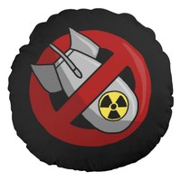 No nuclear weapons round pillow