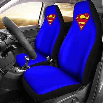 Super Hero Design Blue Seat Covers