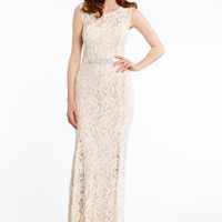 Sleeveless Lace Dress with Rhinestone Belt