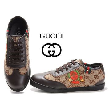 GUCCI Women Fashion Flower Embroidery Flats Shoes