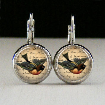 Round Glass Jewelry Bezel Earrings Bird Earrings by IncrediblyHip