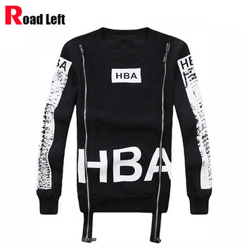 Spring/Autumn Men HBA Sweatshirt O-neck Double Zipper Personality 3D Printed Fleece Hip Hop Hoodies Mens Hood By Air Tracksuits