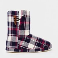 New Look Neckham Check Slipper Boots