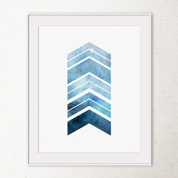 Navy Blue Chevron Arrows Art Print, Modern Geometric Art Print 8x10 Printable art, Navy Chevron Art Print, Printable wall art, Dark Blue Art
