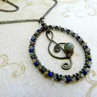 For the Love of Music - Lapis, Hematite, and Labradorite Pendant Necklace - Gunmetal & Gemstones Collection