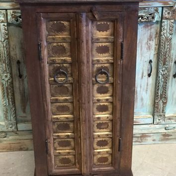 2 Antique Nightstands Brown Brass  Cut Sheet Design Doors Side Table Sofa Bar Cabinet Farmhouse End Tables