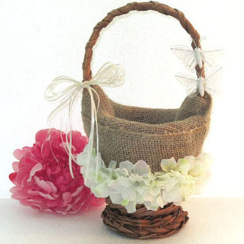 Wedding, bridal, country, flower girl basket, burlap, butterflies, outside wedding, flower girl basket vintage inspired, timelesspeony