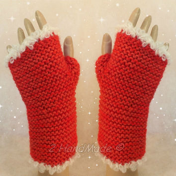 Santa Fingerless Chunky Knitting Hand Warmers Christmas Xmas Soft Sheep Merino Mohair wool Red of White ready to ship