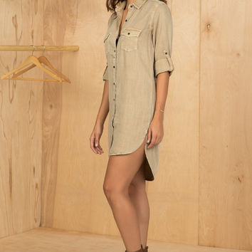 Khaki Shirt Dress- FINAL SALE