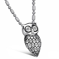 Etched Owl Cubic Zirconia Diamond CZ Dangling Charm Pendant Silver Stainless Steel Necklace