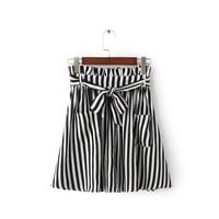 Summer Korean High Waist Slim With Pocket Stripes Skirt Waistband [8173590983]