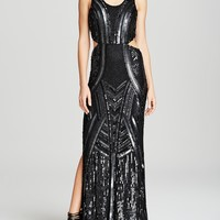 Parker Black Gown - Livy Sequin Side Cutout