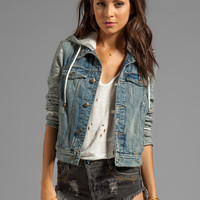 Free People Denim/Knit Hoodie Jacket in Indie Wash
