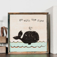GO WITH THE FLOW SMALL WHALE ART