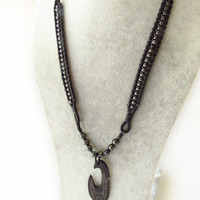 Men's Boho Necklace with Healing Magnetic Hematite Stones with Genuine Black Leather and Bone Hawaiian Fish Hook Pendant