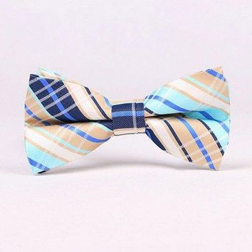 Stylish Tartan Check Pattern Bow Tie For Men - Azure