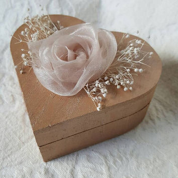 Rose Gold Heart Shaped Wedding Ring Box Shabby Chic Rustic Vintage ring pillow Alternative