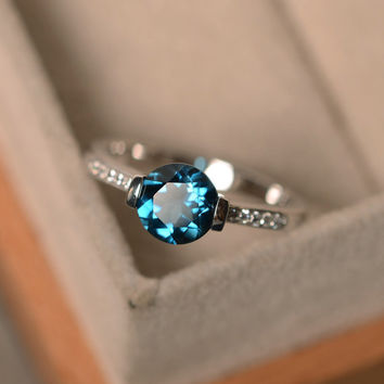 London blue topaz ring, blue gemstone ring, round cut ring, engagement ring