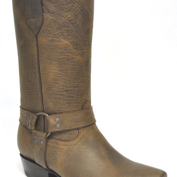 Gavel Handcrafted Women's Crazyhorse Testa Brown Square Toe Harness Western Boots