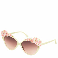 FLOWER DETAIL CATEYE SUNGLASSES