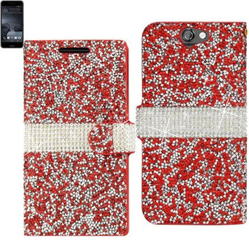 Reiko Bling Diamond Flip Case Htc One A9 Red