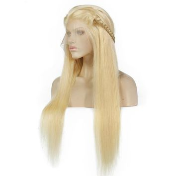 Blonde 130% Density Silky Straight Brazilian Lace front Wig