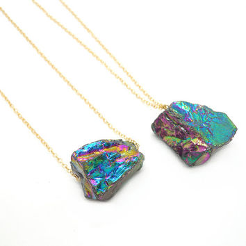 Aura Crystal Necklace // Rainbow Titanium Crystal