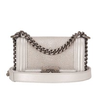 Chanel Silver Stingray Mini Boy Bag