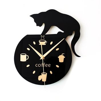 Silent Cartoon Wall Clock Cute Climbing Cat for Drinking Coffee Clock Wall Decoration Cup Coffee Clock