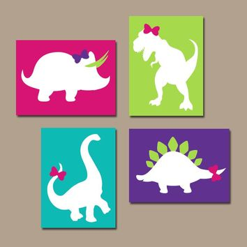 Girl DINOSAUR Wall Art, Canvas or Prints, DINOSAUR Nursery, Baby Girl Nursery Wall Art, Bedroom Pictures, Girl Decor  DINO Decor, Set of 4