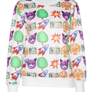 White Emoji Print Long Sleeve Sweater