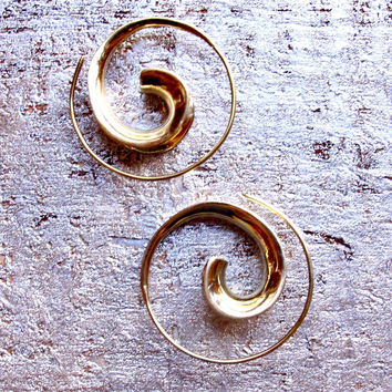 Brass Curl Spiral Earrings