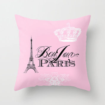 Pink Paris pillow, Bonjour Paris throw pillow, Eiffel Tower, girlie, crown, throw pillow, home, decor, designer