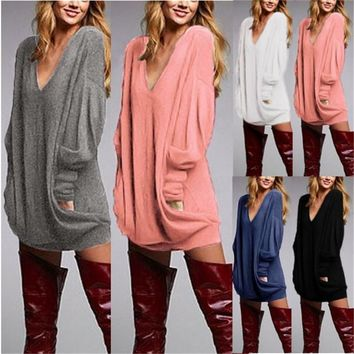 ZANZEA Oversized Mini Dress Women V Neck Long Sleeve Shirt Casual Loose Blouse Top Pullover Short Vesitidos Dress Jumper 5 Color