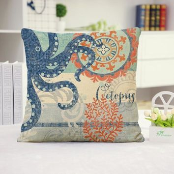 Octopus Cotton Linen Pillow Cover