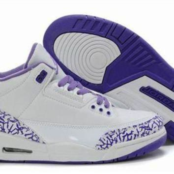 Hot Air Jordan 3 Retro Women Shoes White Purple