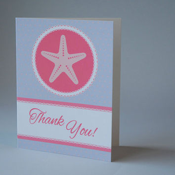 Nautical Baby Shower Thank You Cards + Envelopes + 50 ct + Coral + Gray + Baby Shower for Girl + Baby Girl