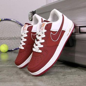 NIKE Air Force 1 Popular Women Men Running Sneakers Sport Shoes Red I