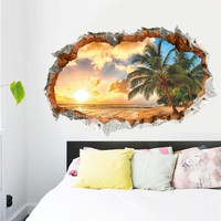 60X90CM beach resort sea tree 3d window hole view removable wall sticker 1483. art living room bedroom  decal decor 2.5