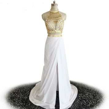 Backless Beaded High Neck 2 Piece Dresses Long Party Dresses Formal Evening Gowns white and gold dresses