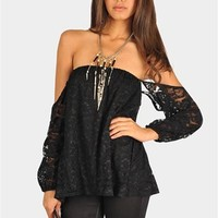 Perfection Lace Off The Shoulder Top - Black at Necessary Clothing
