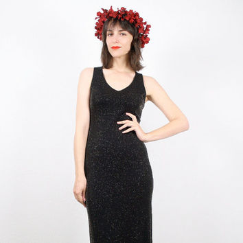Vintage Maxi Dress 90s Dress Grunge Dress Goth Dress Black Gold Metallic Bodycon Dress Bandage Dress Club Kid Dress 1990s S Small M Medium