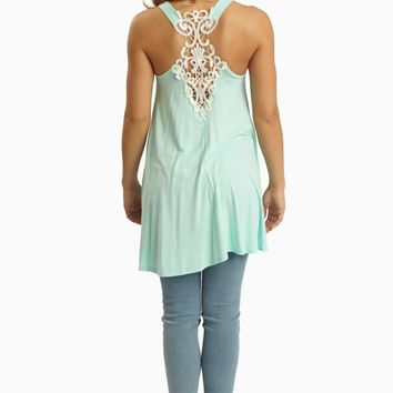 Mint Green Lace Accent Racerback Tunic