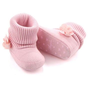 2017 Brand New Baby Girls Newborn Winter Warm Boots Toddler Infant Soft Sole Shoes Flower Baby Shoes 0-18M Lot