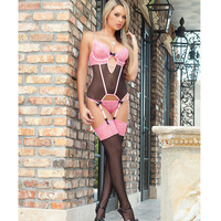 Sweet Valentine Corset W-wired Cups & Stockings Brilliant Pink O-s