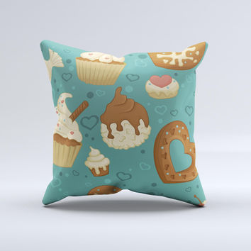 Teal and Brown Dessert iCons ink-Fuzed Decorative Throw Pillow
