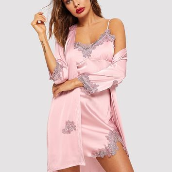 Crochet Trim Satin Cami Dress With Robe