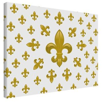 Gold Fleur De Lis AOP Printed Canvas Art Landscape - Choose Size by TooLoud