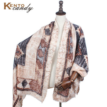 striped poncho winter pashmina shawls and scarves wool women brown blanket scarf female cape tassel prices in euros echarpes